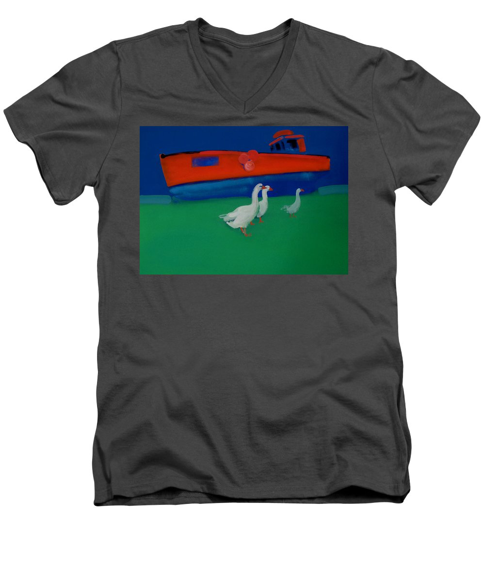 Geese Men's V-Neck T-Shirt featuring the painting Cool And Dry by Charles Stuart