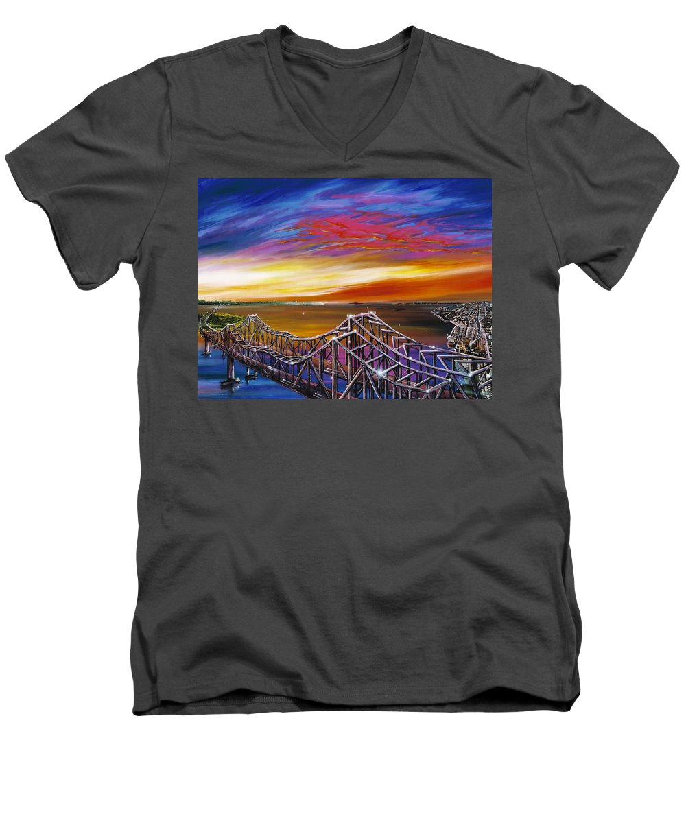 Clouds Men's V-Neck T-Shirt featuring the painting Cooper River Bridge by James Christopher Hill