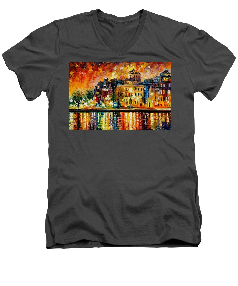 City Men's V-Neck T-Shirt featuring the painting Copenhagen Original Oil Painting by Leonid Afremov