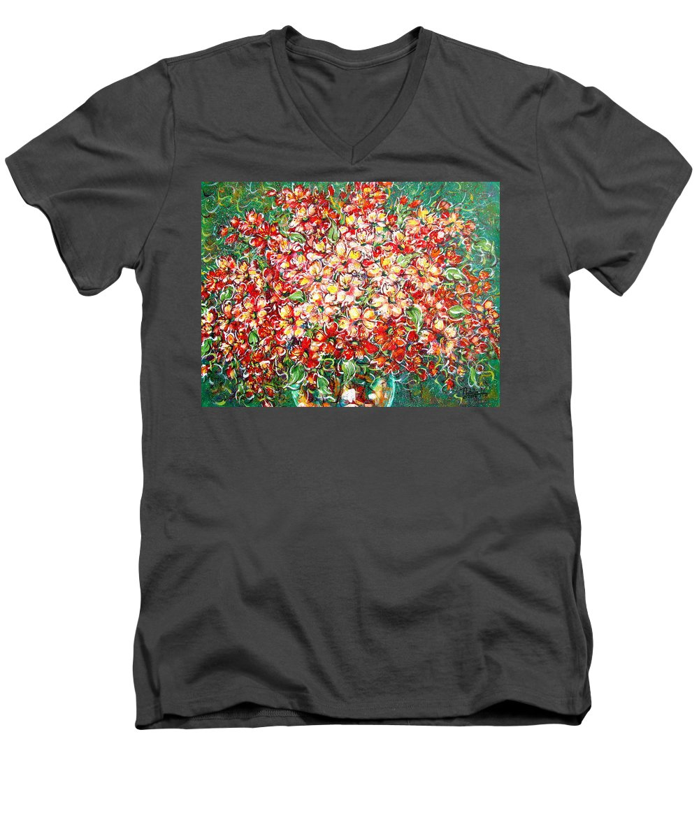 Flowers Men's V-Neck T-Shirt featuring the painting Cottage Garden Flowers by Natalie Holland