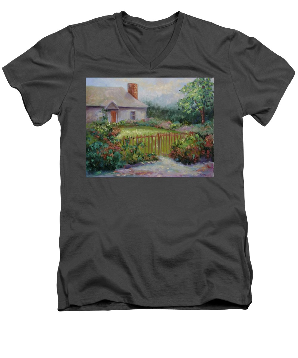Cottswold Men's V-Neck T-Shirt featuring the painting Cottswold Cottage by Ginger Concepcion