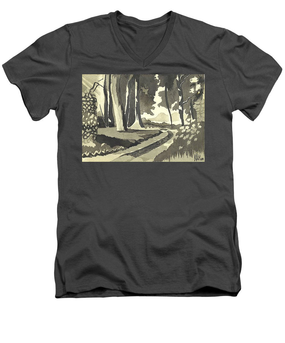 Rural Men's V-Neck T-Shirt featuring the painting Country Lane In Evening Shadow by Kip DeVore