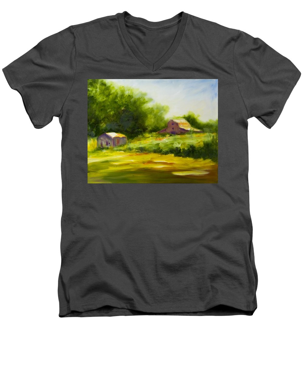 Landscape In Green Men's V-Neck T-Shirt featuring the painting Courage by Shannon Grissom