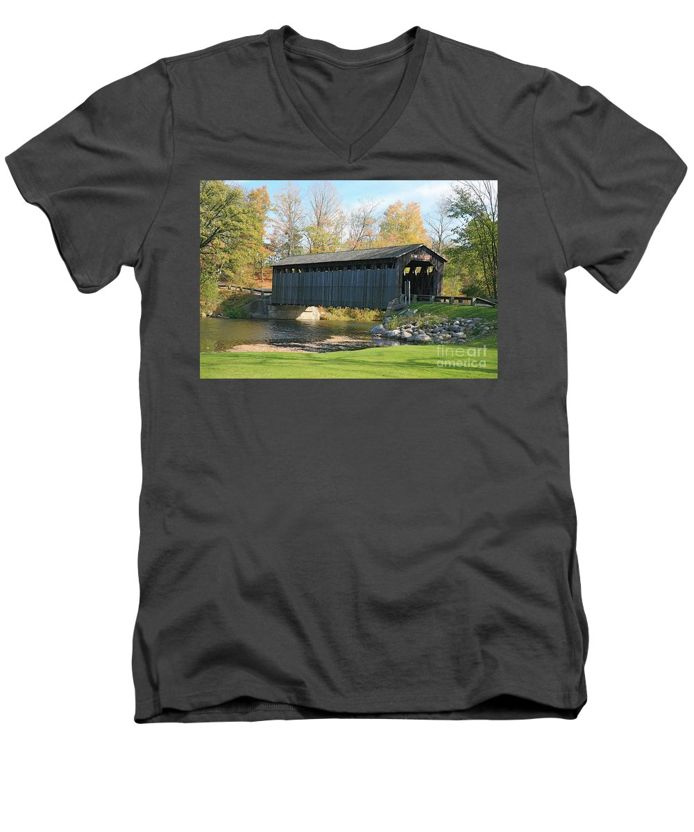 Covered Bridge Men's V-Neck T-Shirt featuring the photograph Covered Bridge by Robert Pearson
