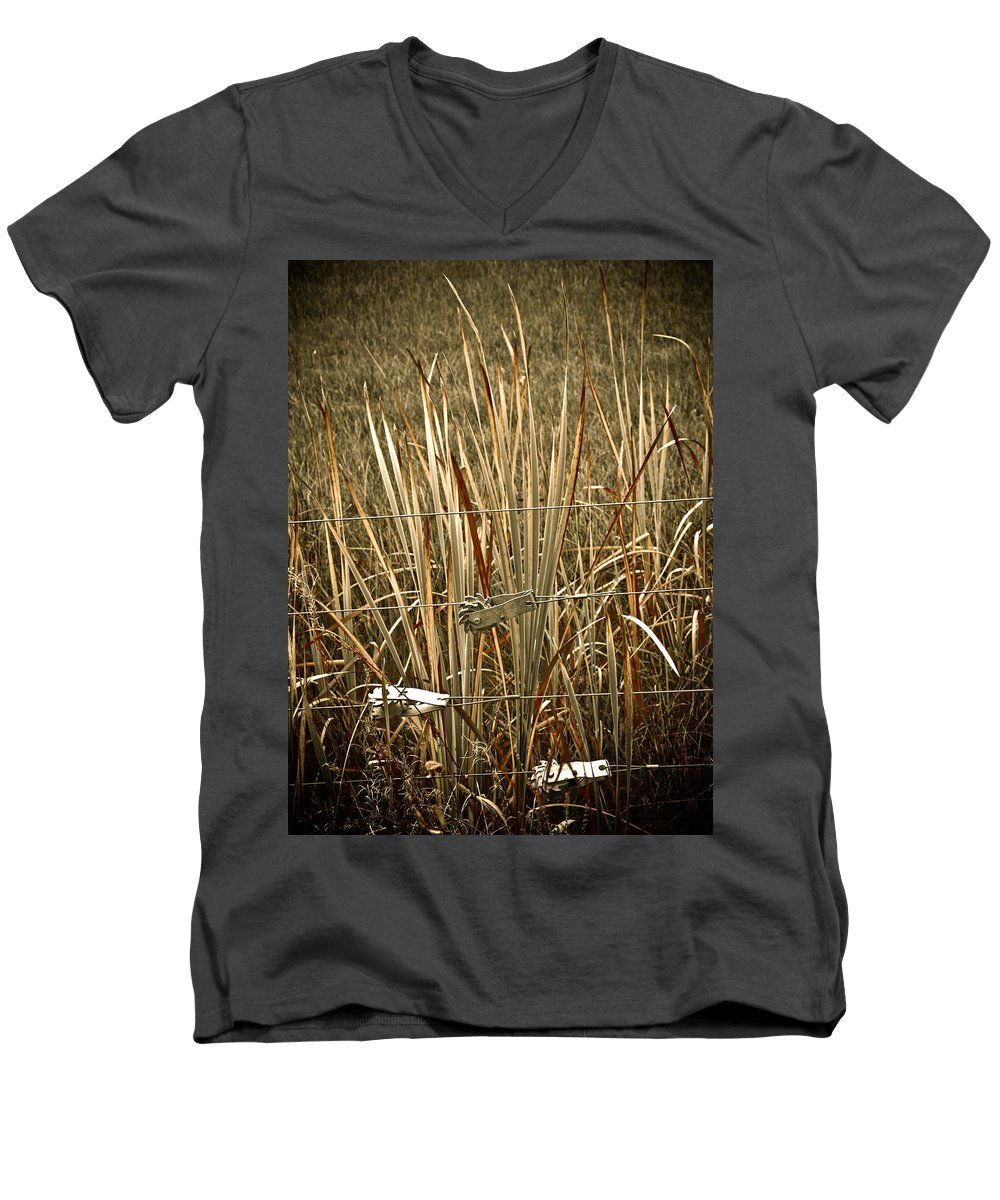 Americana Men's V-Neck T-Shirt featuring the photograph Cowboy Fence by Marilyn Hunt