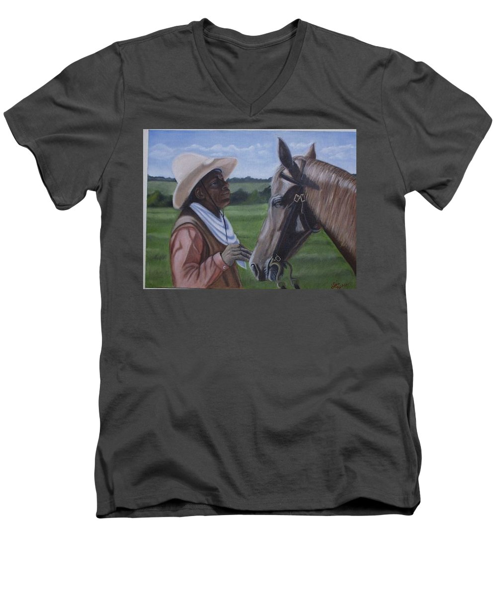 Portrait Men's V-Neck T-Shirt featuring the painting Cowboy2 by Toni Berry