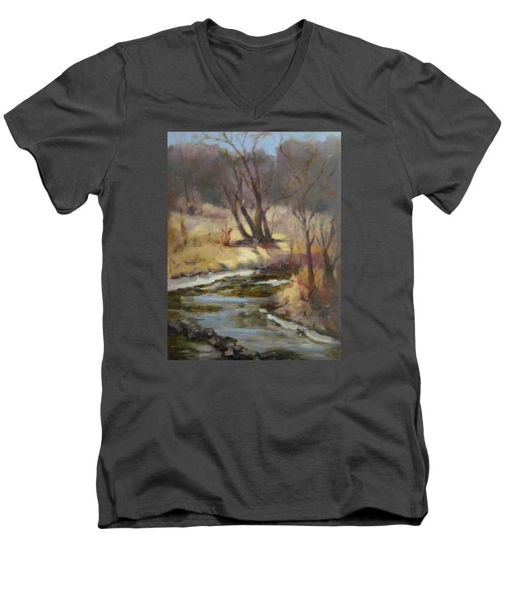 Plein Air Landscape Men's V-Neck T-Shirt featuring the painting Credit River by Patricia Kness