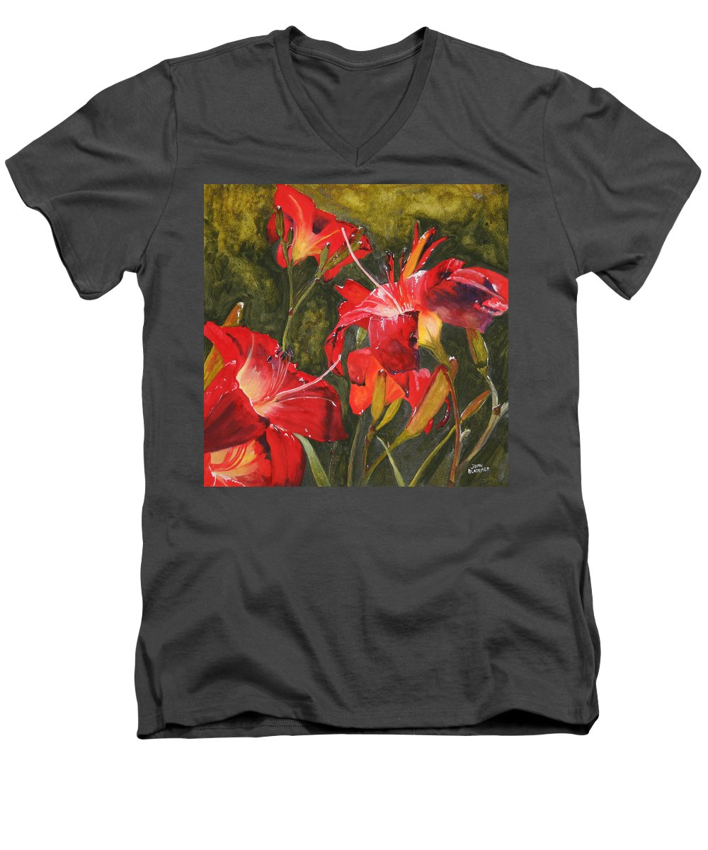 Red Men's V-Neck T-Shirt featuring the painting Crimson Light by Jean Blackmer