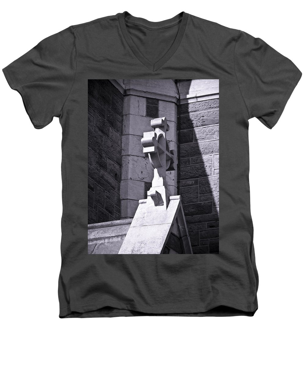 Irish Men's V-Neck T-Shirt featuring the photograph Cross At St. Johns Tralee Ireland by Teresa Mucha