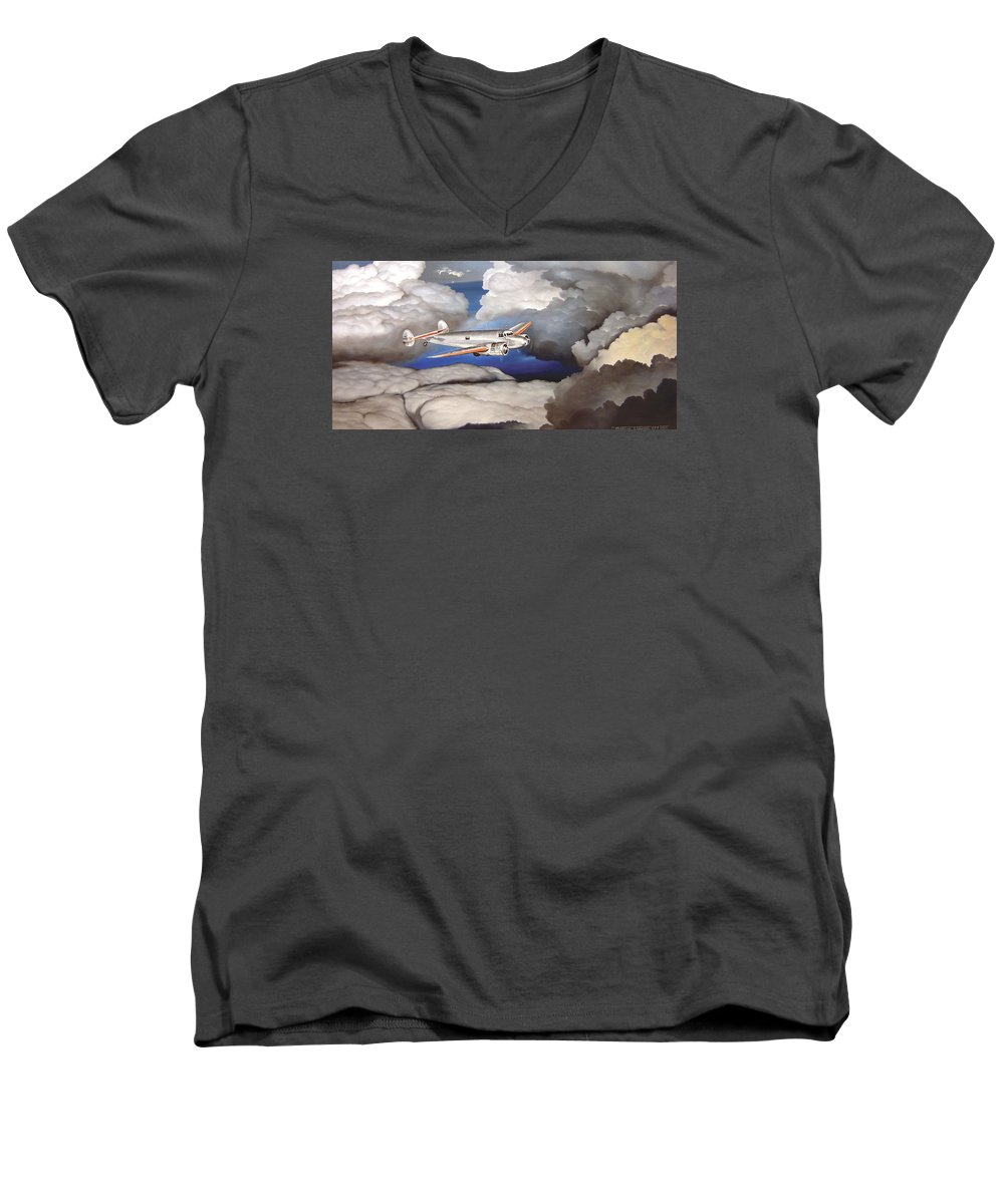 Aviation Men's V-Neck T-Shirt featuring the painting Crossing Over Amelia Earharts Final Flight by Marc Stewart
