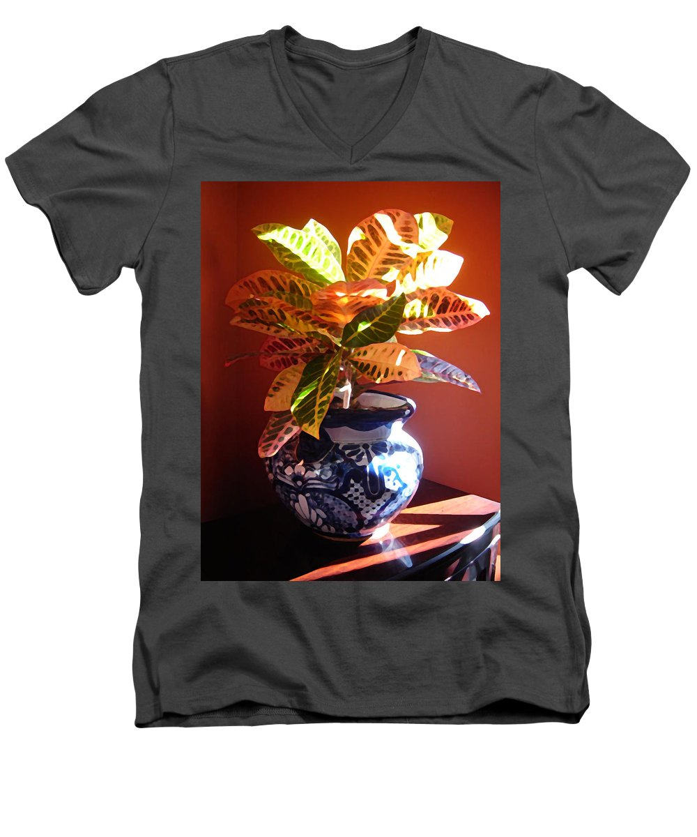 Potted Plant Men's V-Neck T-Shirt featuring the photograph Croton In Talavera Pot by Amy Vangsgard