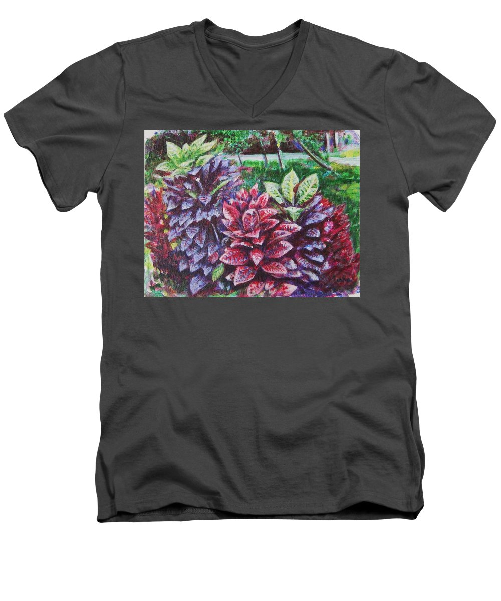 Landscape Men's V-Neck T-Shirt featuring the painting Crotons 1 by Usha Shantharam