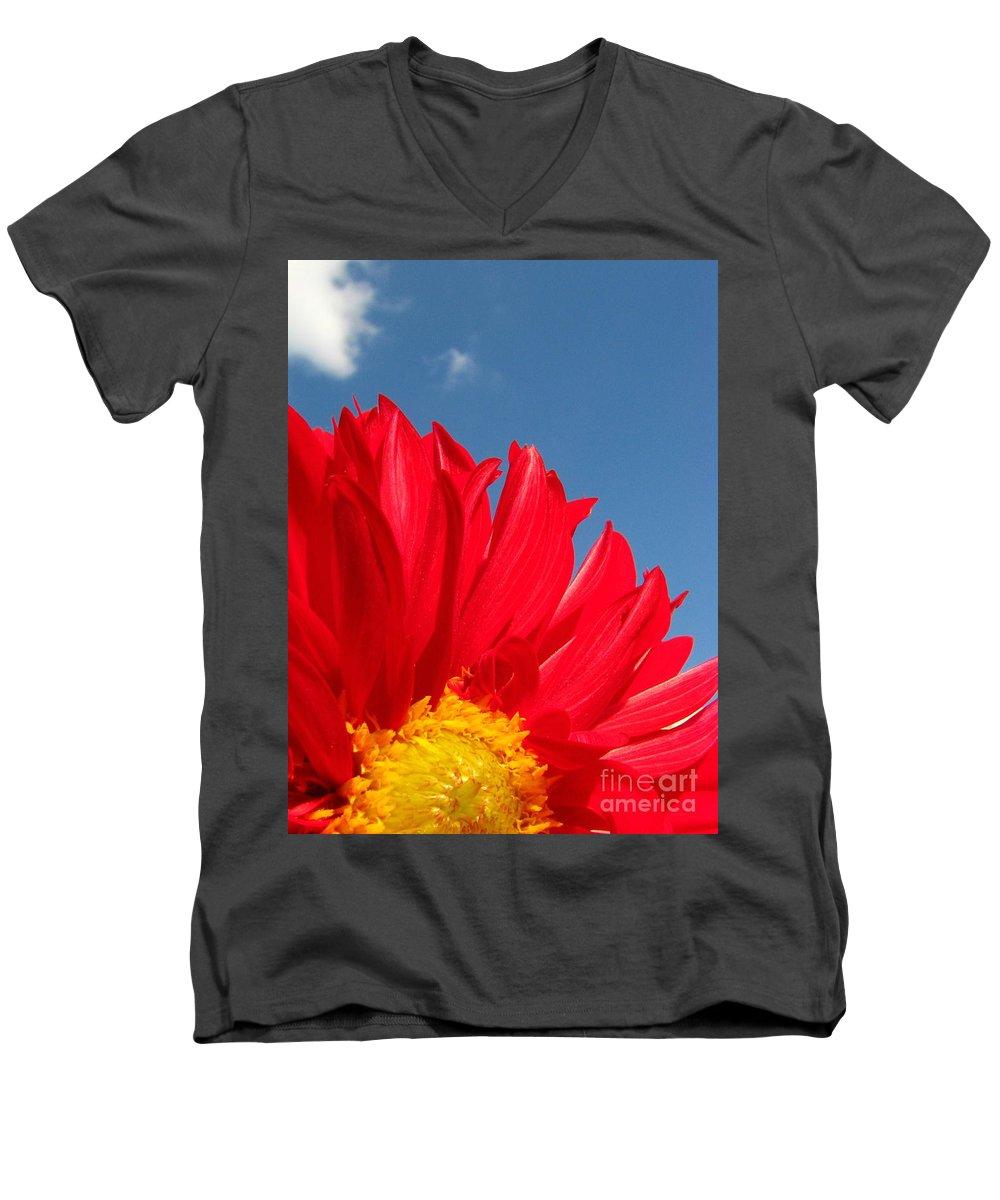Dahlia Men's V-Neck T-Shirt featuring the photograph Dahlia by Amanda Barcon