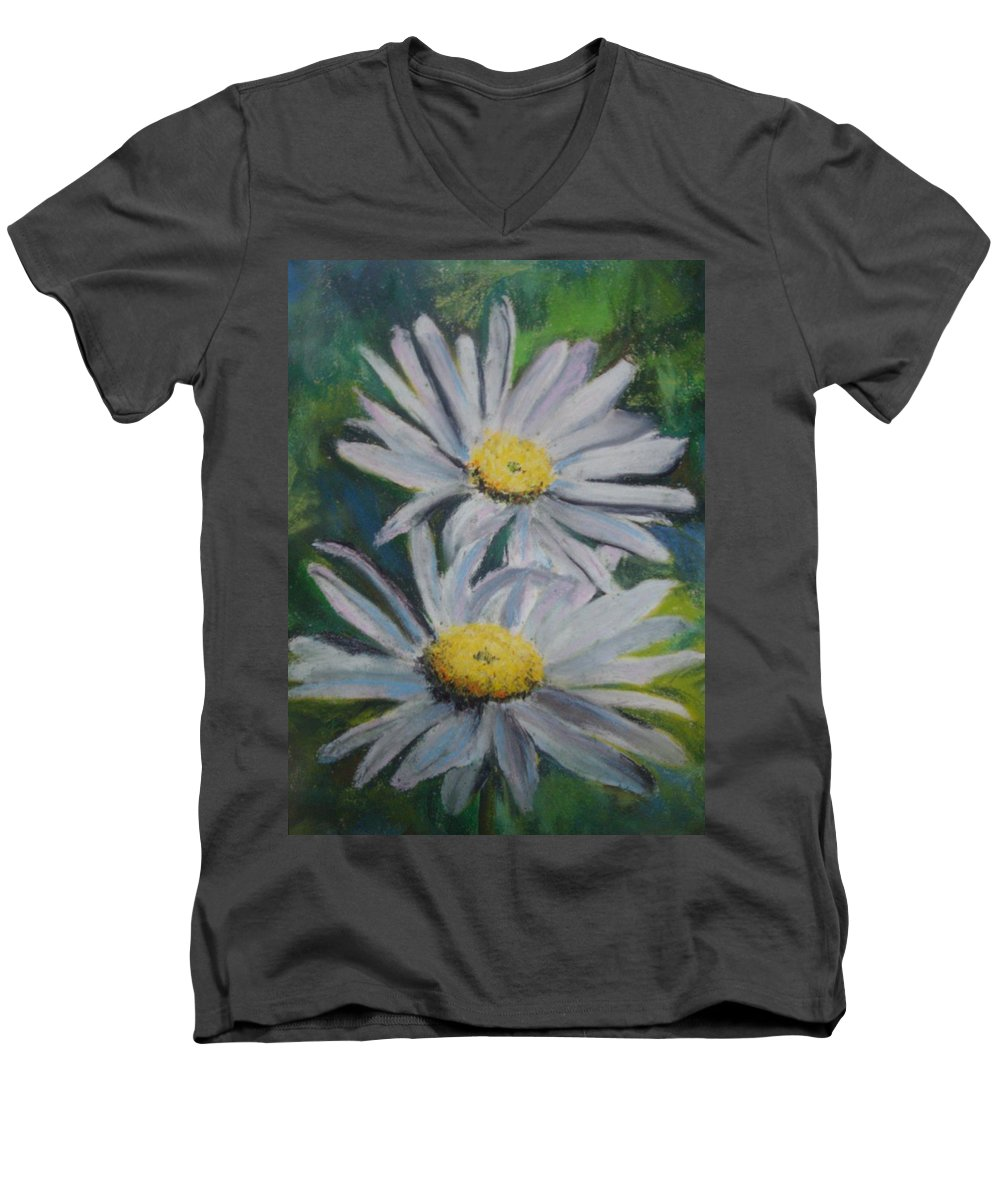 Daisies Men's V-Neck T-Shirt featuring the painting Daisies by Melinda Etzold