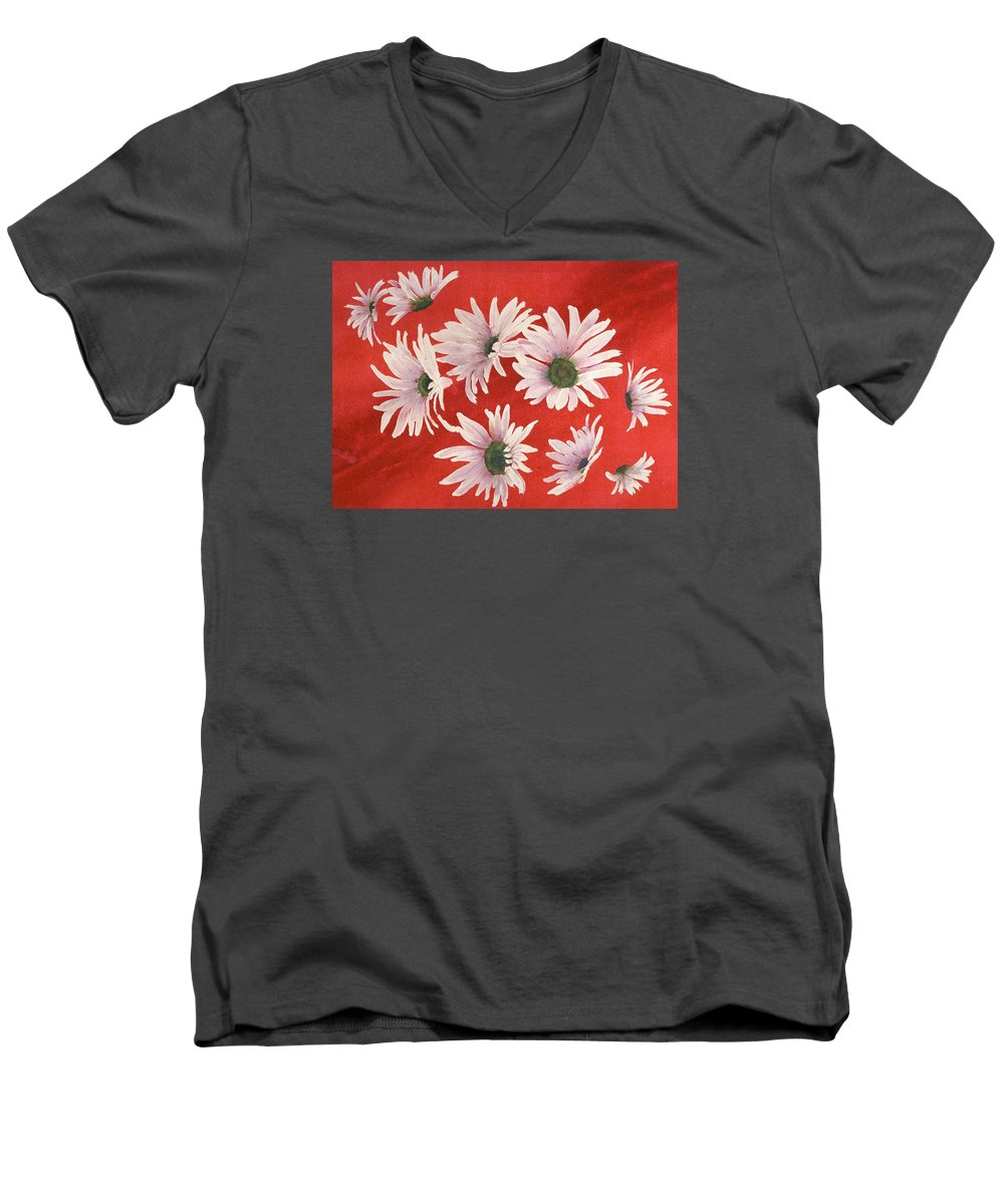 Flowers Men's V-Neck T-Shirt featuring the painting Daisy Chain by Ruth Kamenev
