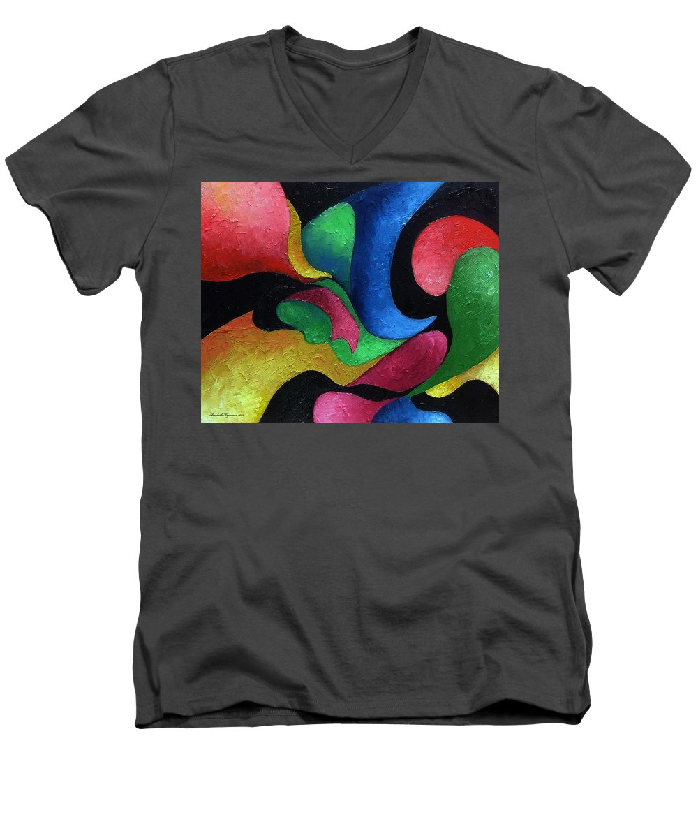 Abstract Men's V-Neck T-Shirt featuring the painting Dance With Me by Elizabeth Lisy Figueroa