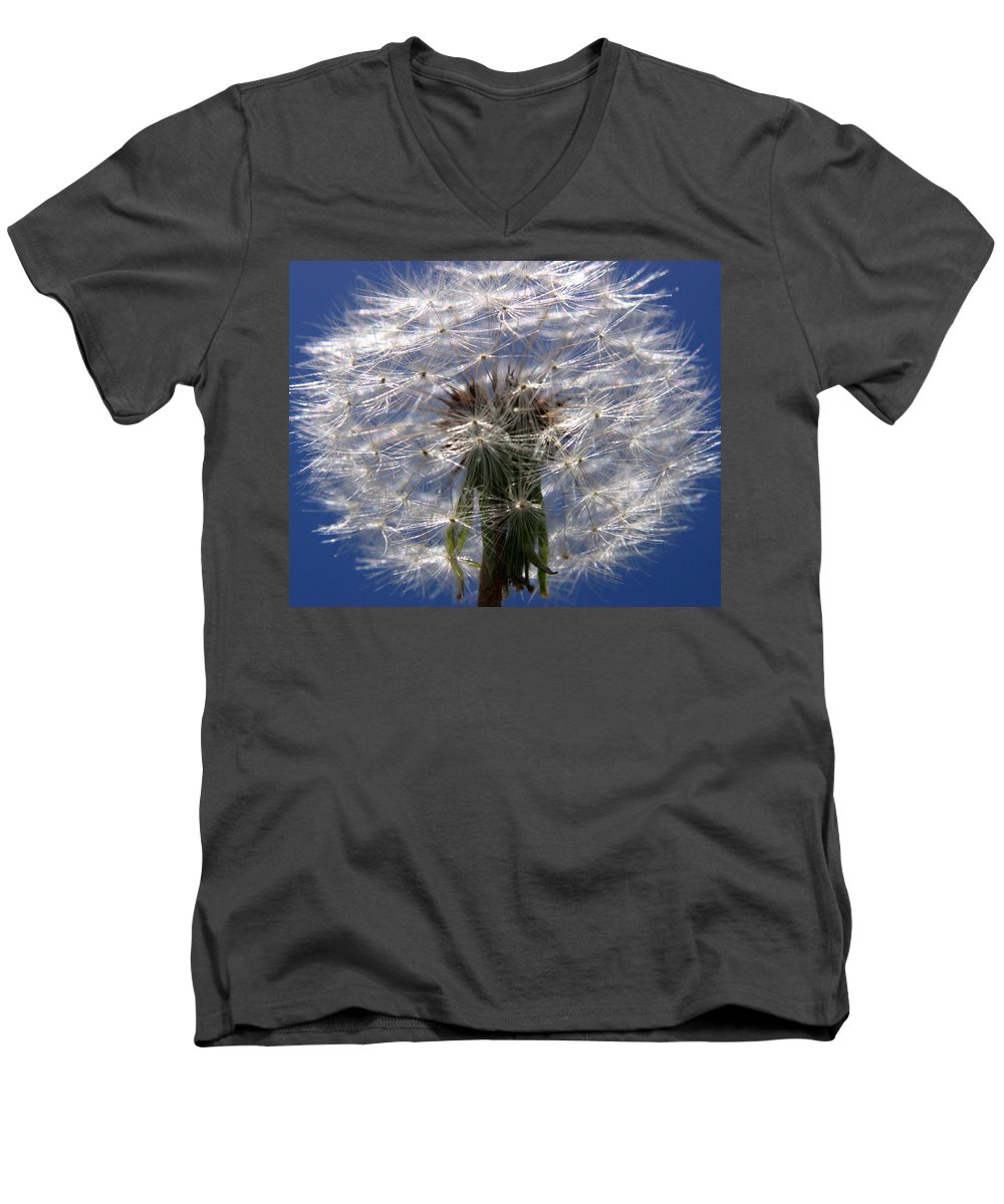 Dandelion Men's V-Neck T-Shirt featuring the photograph Dandelion by Ralph A Ledergerber-Photography