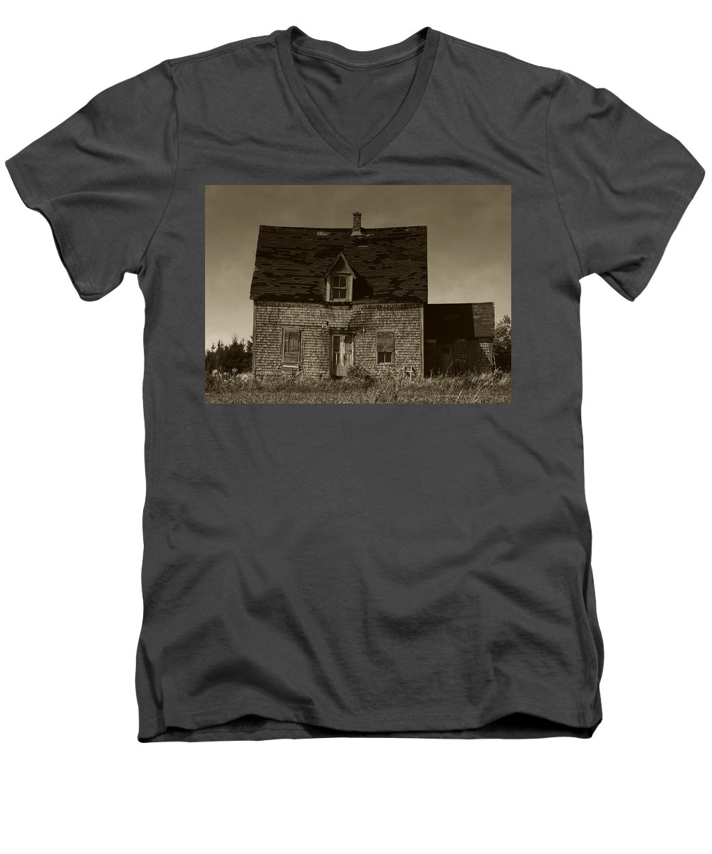 Old House Men's V-Neck T-Shirt featuring the photograph Dark Day On Lonely Street by RC DeWinter
