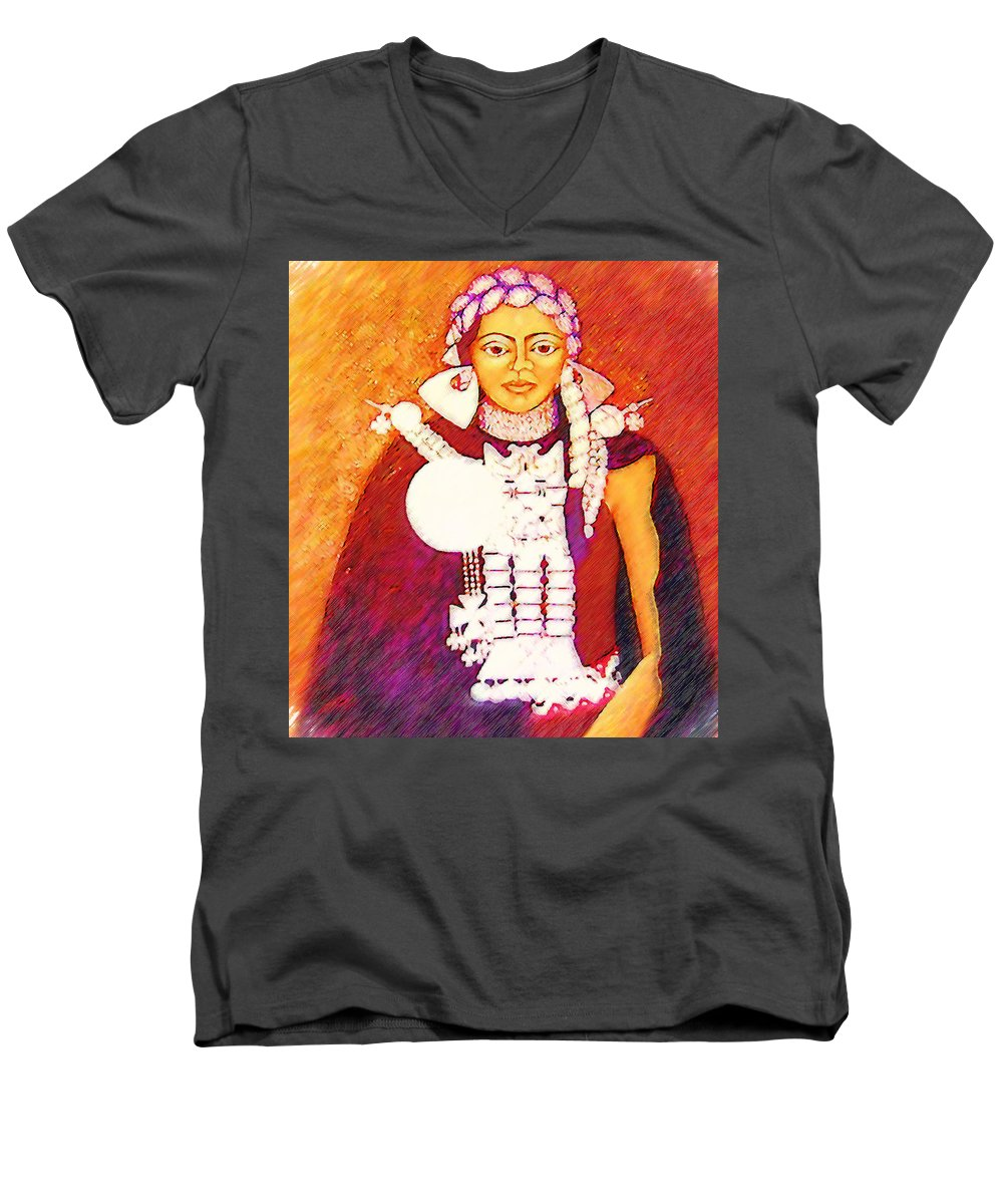 Portrait Men's V-Neck T-Shirt featuring the painting Daughter Of The Bright Sun - Kushe by Madalena Lobao-Tello