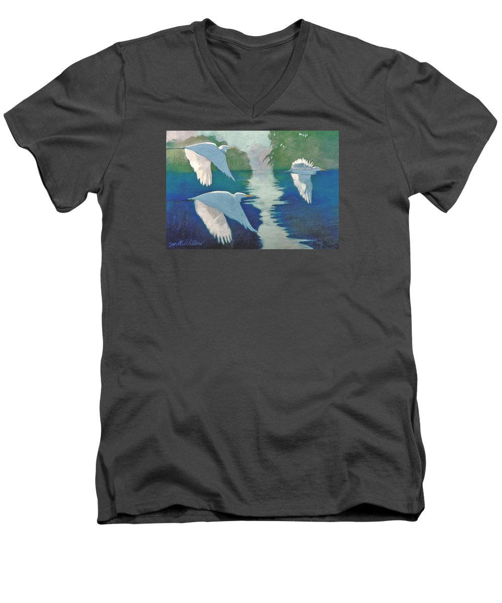 Birds Men's V-Neck T-Shirt featuring the painting Dawn Patrol by Neal Smith-Willow