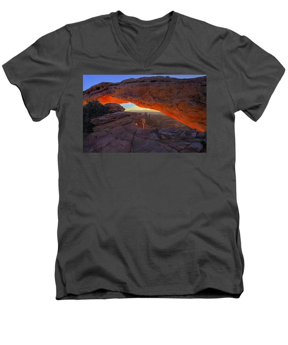 Mesa Arch Men's V-Neck T-Shirt featuring the photograph Dawns Early Light by Mike Dawson