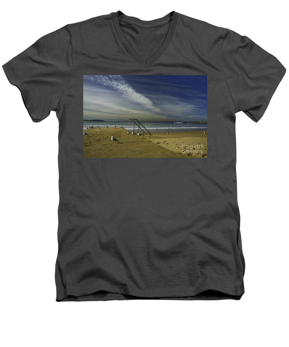 Beach Men's V-Neck T-Shirt featuring the photograph Dee Why Beach Sydney by Sheila Smart Fine Art Photography
