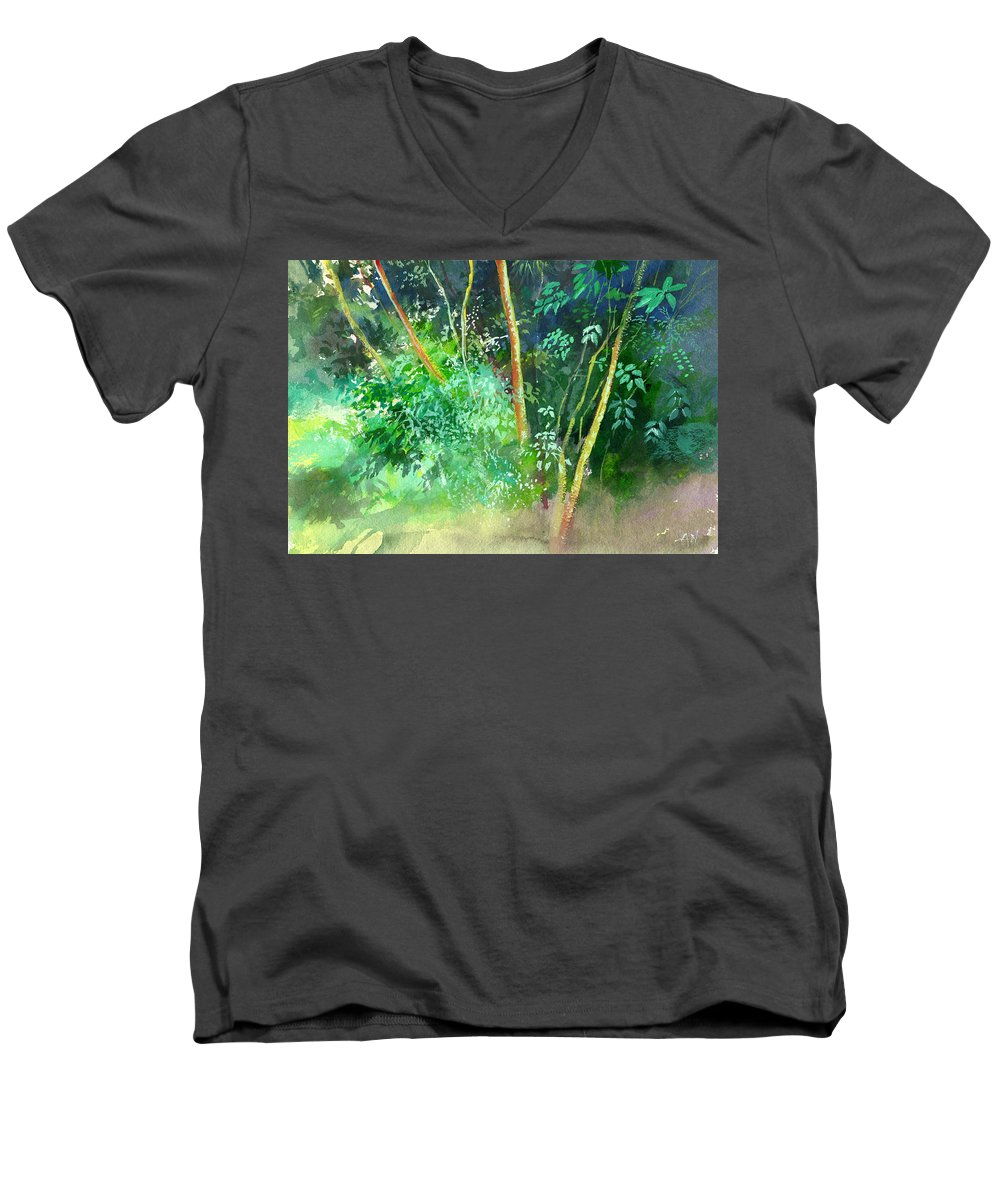 Water Color Men's V-Neck T-Shirt featuring the painting Deep by Anil Nene
