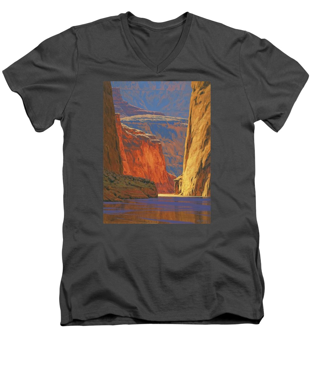 Grand Canyon Men's V-Neck T-Shirt featuring the painting Deep In The Canyon by Cody DeLong