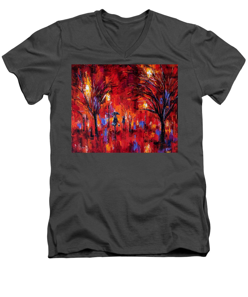 Umbrellas Men's V-Neck T-Shirt featuring the painting Deep Red by Debra Hurd