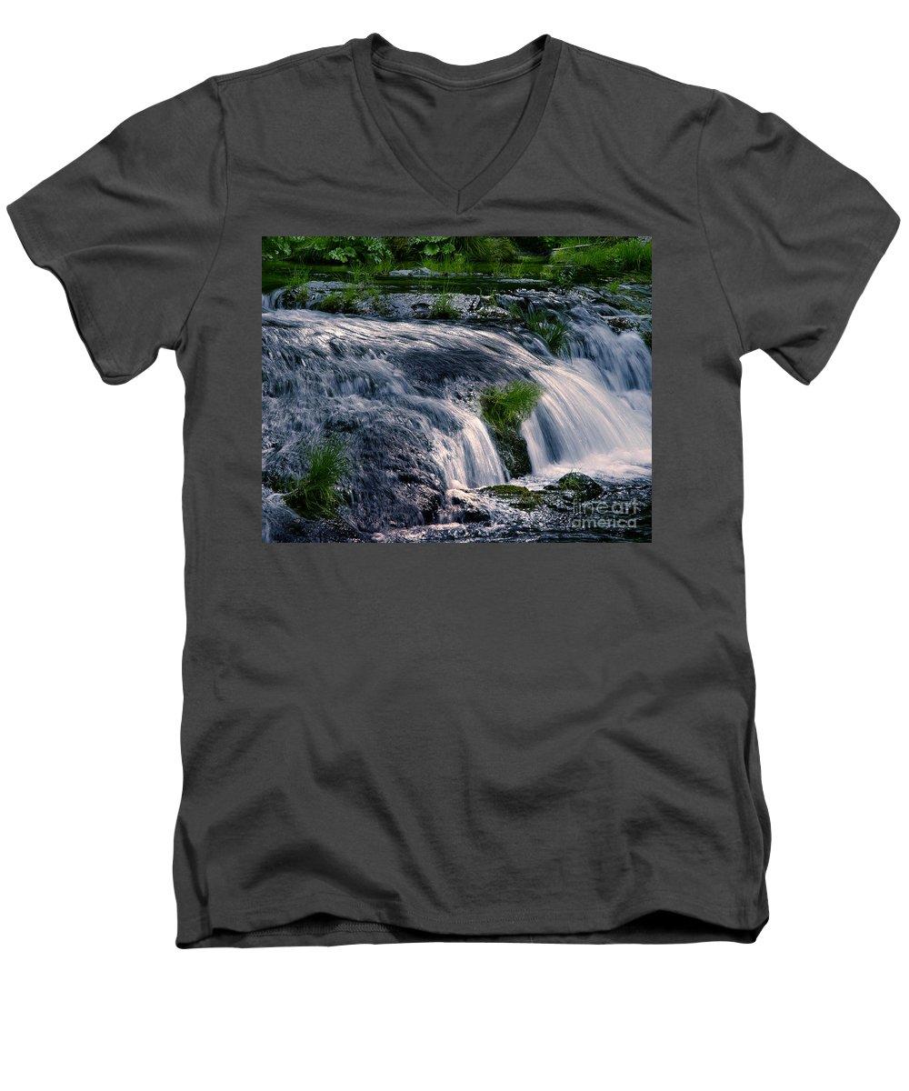 Creek Men's V-Neck T-Shirt featuring the photograph Deer Creek 01 by Peter Piatt