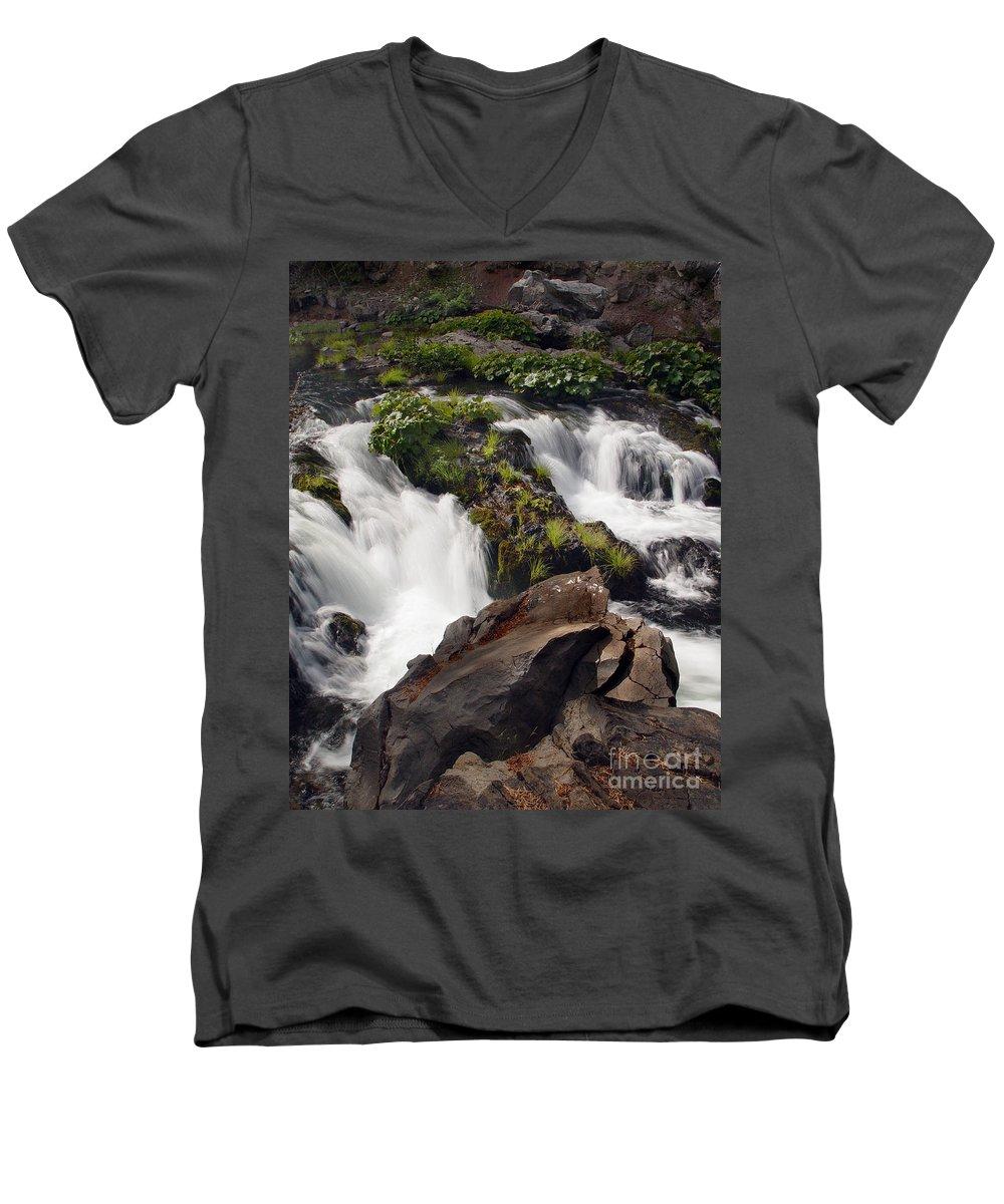 Creek Men's V-Neck T-Shirt featuring the photograph Deer Creek 12 by Peter Piatt