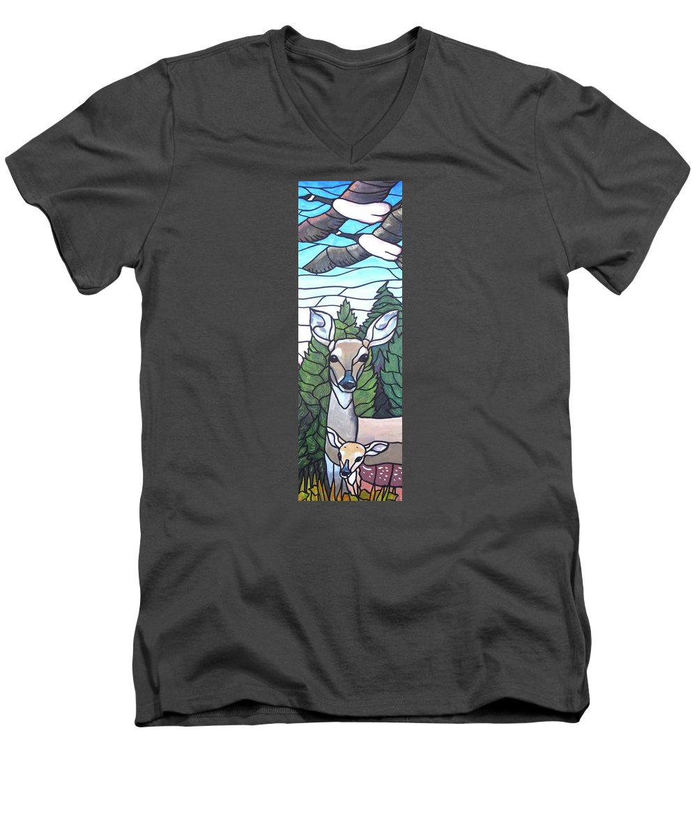 Deer Men's V-Neck T-Shirt featuring the painting Deer Scene by Jim Harris