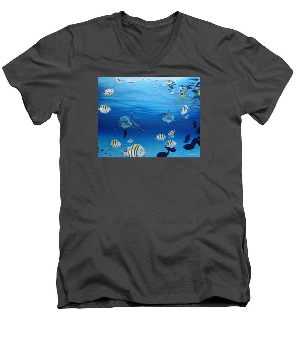 Seascape Men's V-Neck T-Shirt featuring the painting Delphinus by Angel Ortiz