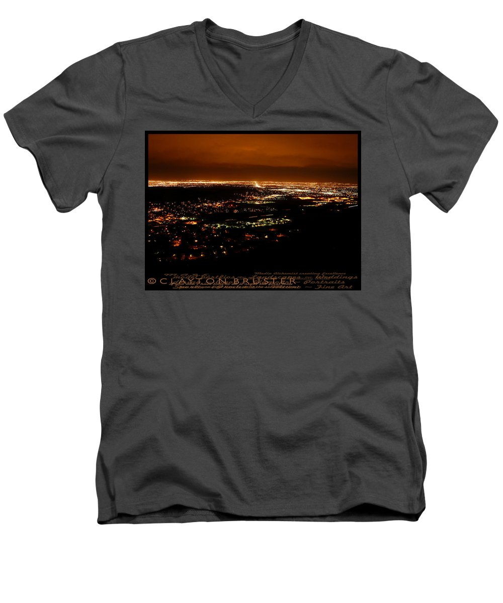 Clay Men's V-Neck T-Shirt featuring the photograph Denver Area At Night From Lookout Mountain by Clayton Bruster