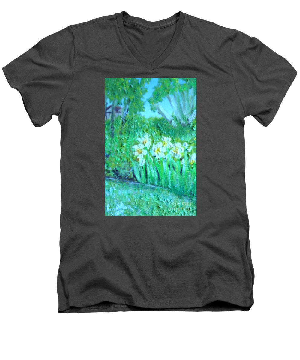 Daffodils Men's V-Neck T-Shirt featuring the painting Dependable Daffodils by Laurie Morgan