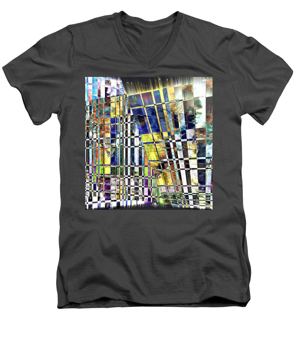 Abstract Men's V-Neck T-Shirt featuring the digital art Desperate Reflections by Seth Weaver