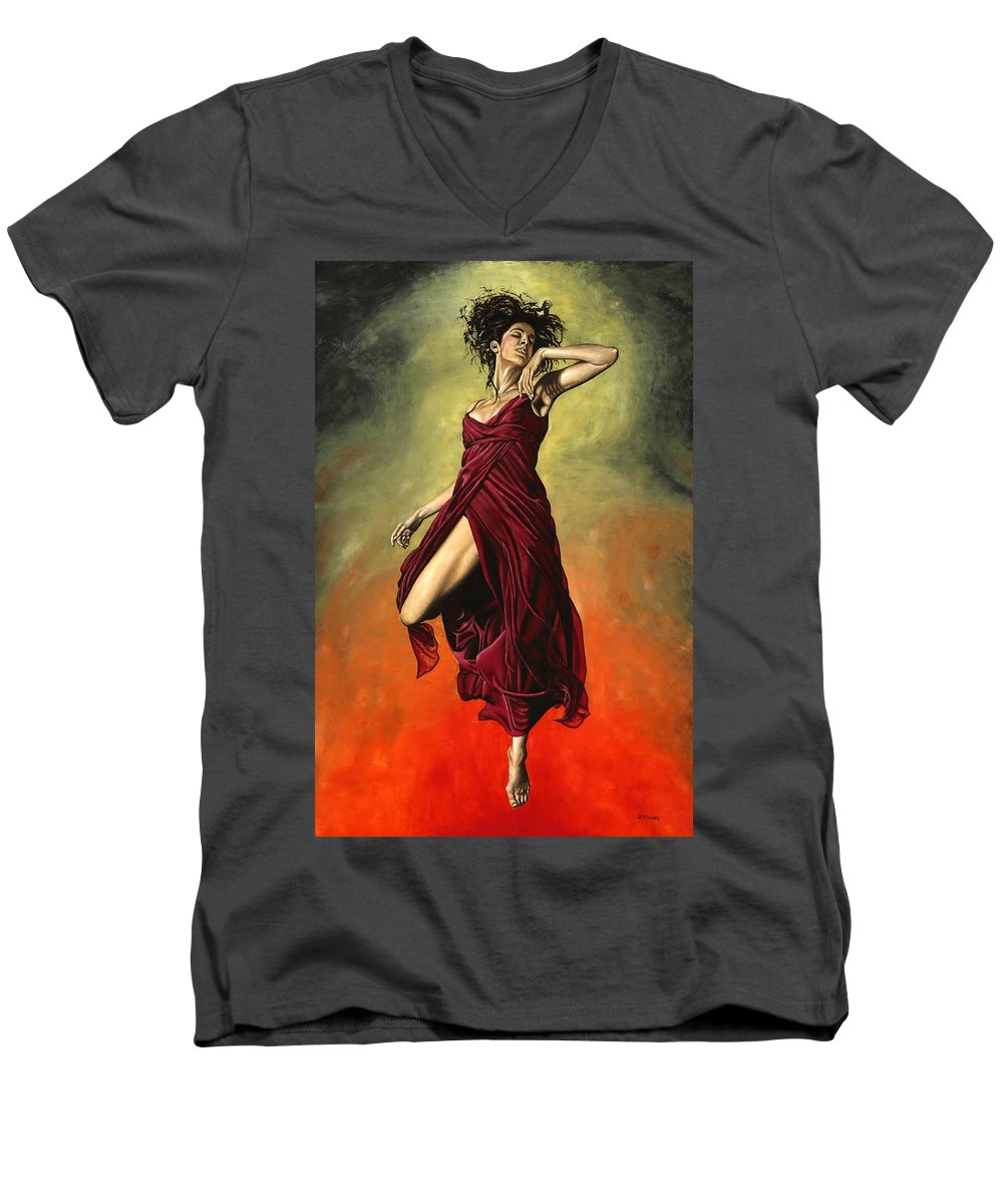 Dance Men's V-Neck T-Shirt featuring the painting Destiny's Dance by Richard Young