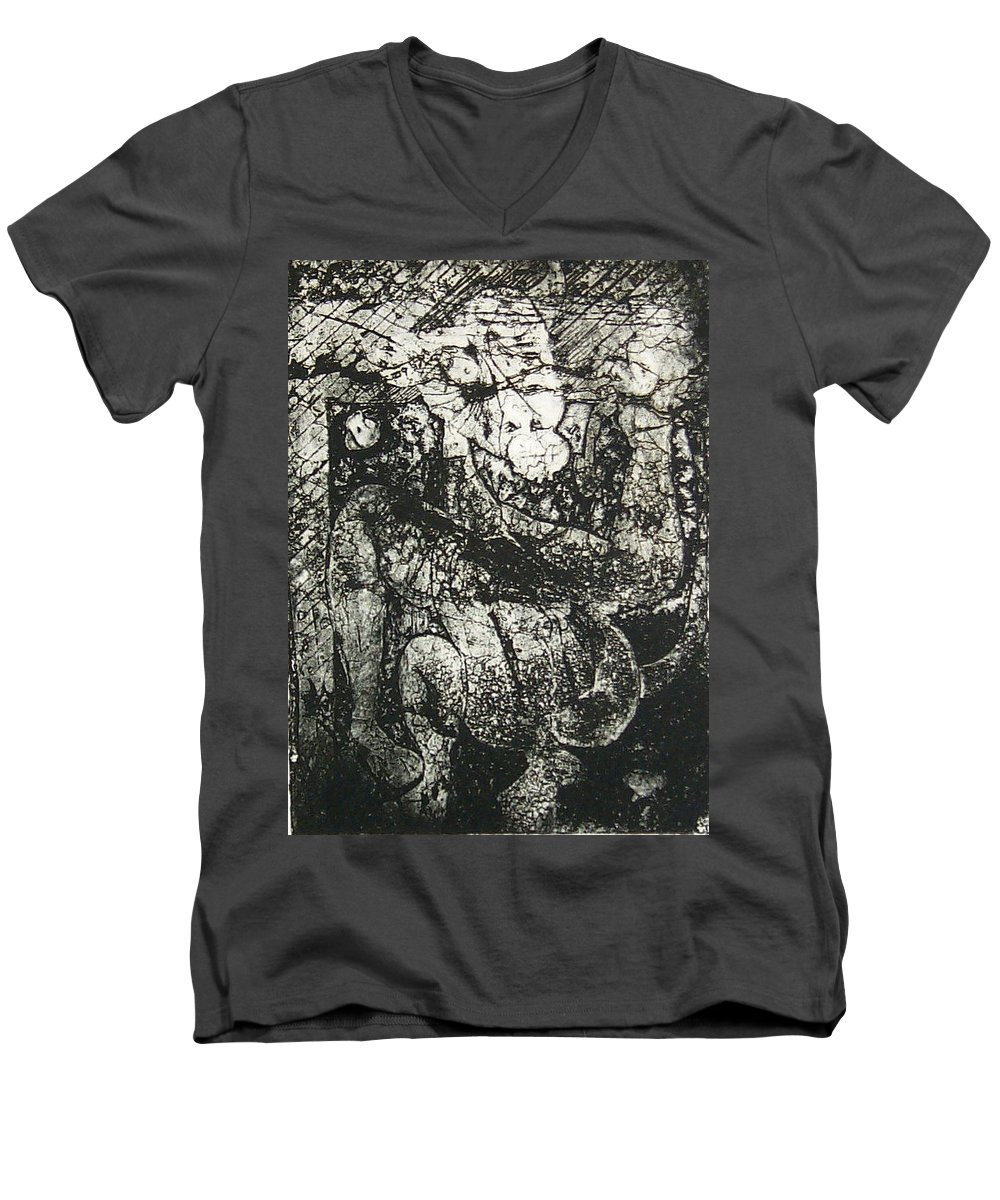 Etching Men's V-Neck T-Shirt featuring the print Destroy Plate by Thomas Valentine