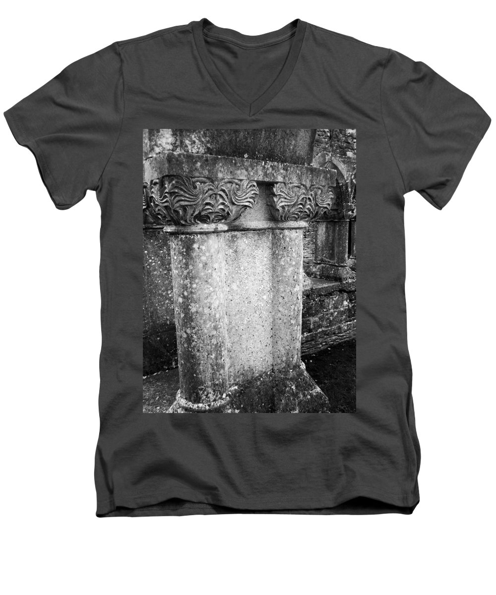 Irish Men's V-Neck T-Shirt featuring the photograph Detail Of Capital Of Cloister At Cong Abbey Cong Ireland by Teresa Mucha