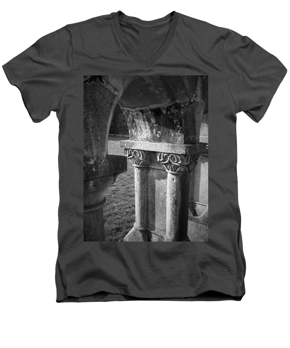 Irish Men's V-Neck T-Shirt featuring the photograph Detail Of Cloister At Cong Abbey Cong Ireland by Teresa Mucha