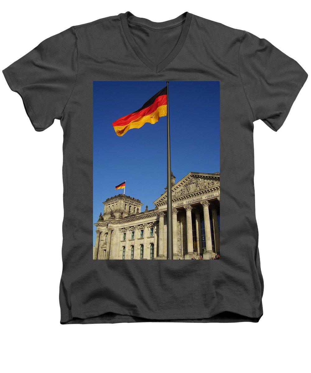Deutscher Bundestag Men's V-Neck T-Shirt featuring the photograph Deutscher Bundestag by Flavia Westerwelle