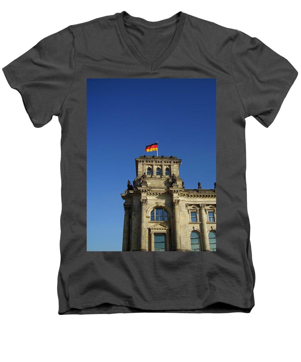 Deutscher Bundestag Men's V-Neck T-Shirt featuring the photograph Deutscher Bundestag II by Flavia Westerwelle