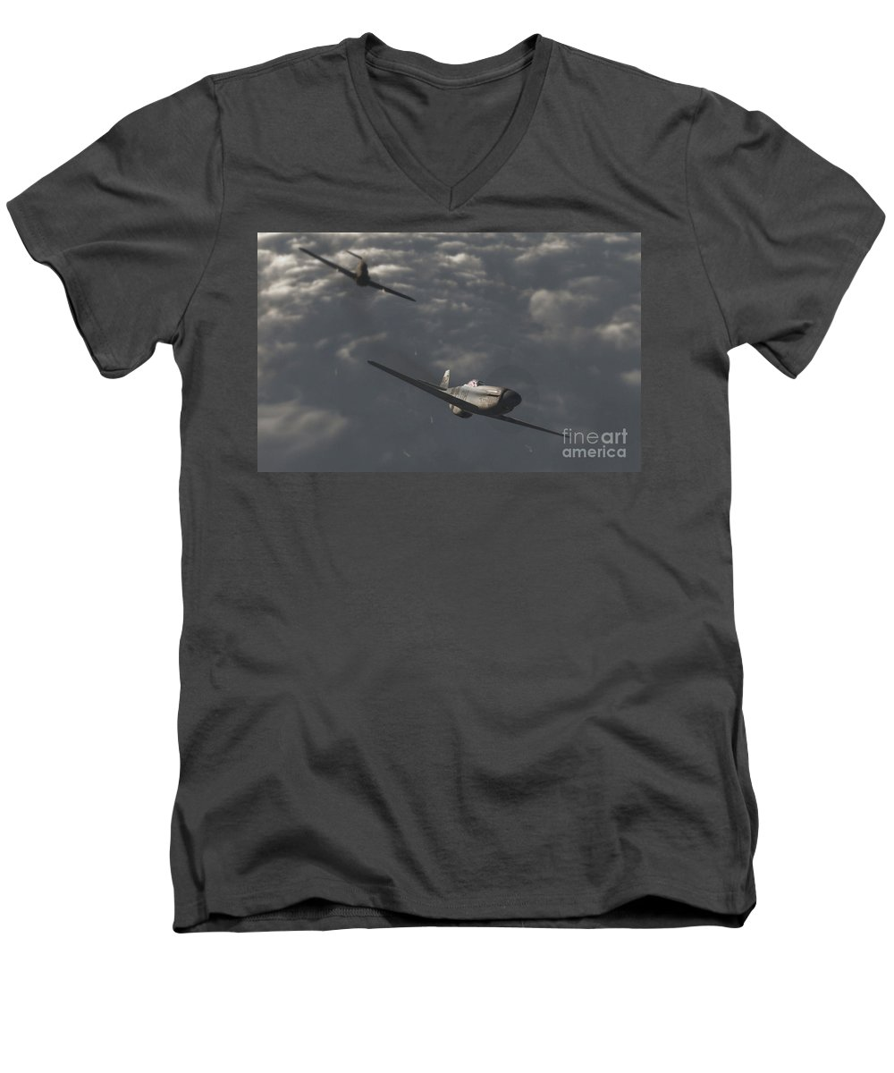 Ww2 Men's V-Neck T-Shirt featuring the digital art Dog Fight by Richard Rizzo