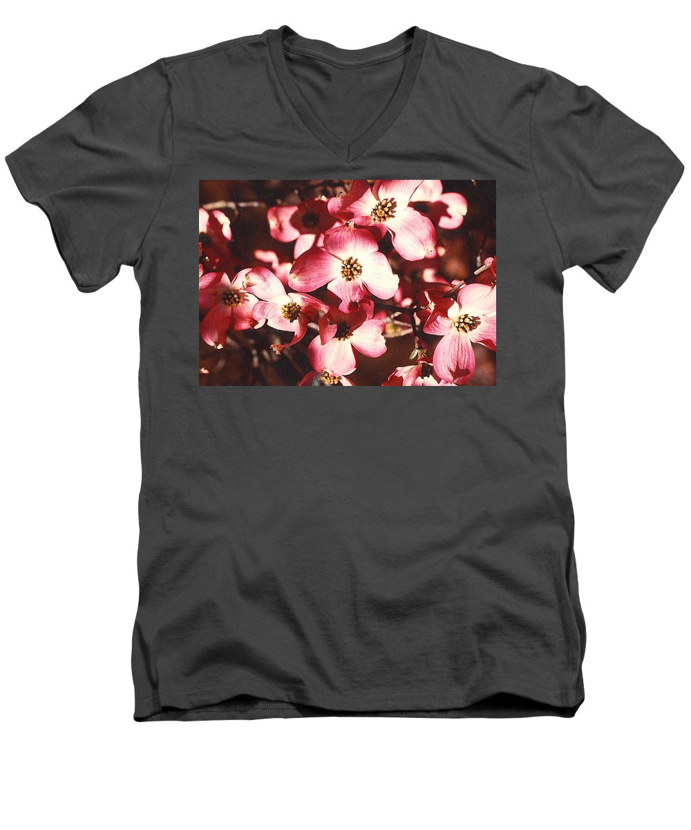 Dogwood Men's V-Neck T-Shirt featuring the photograph Dogwood Harmony by Nancy Mueller