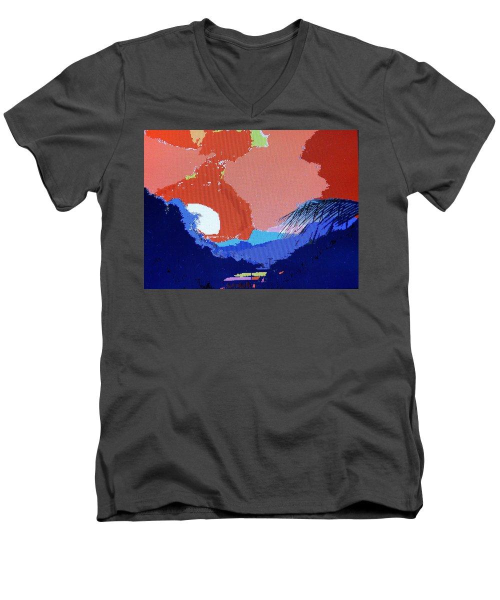 Digital Art Men's V-Neck T-Shirt featuring the photograph Dominican Sunset by Ian MacDonald