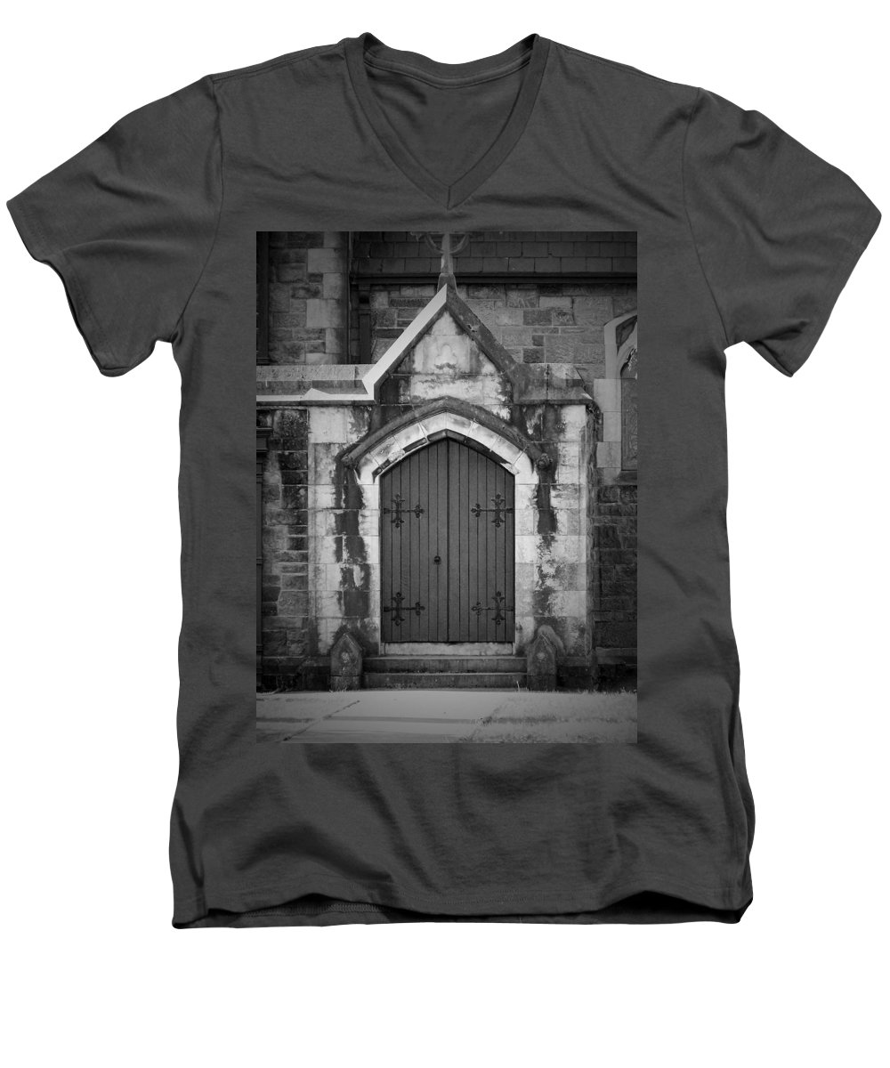 Irish Men's V-Neck T-Shirt featuring the photograph Door At St. Johns In Tralee Ireland by Teresa Mucha