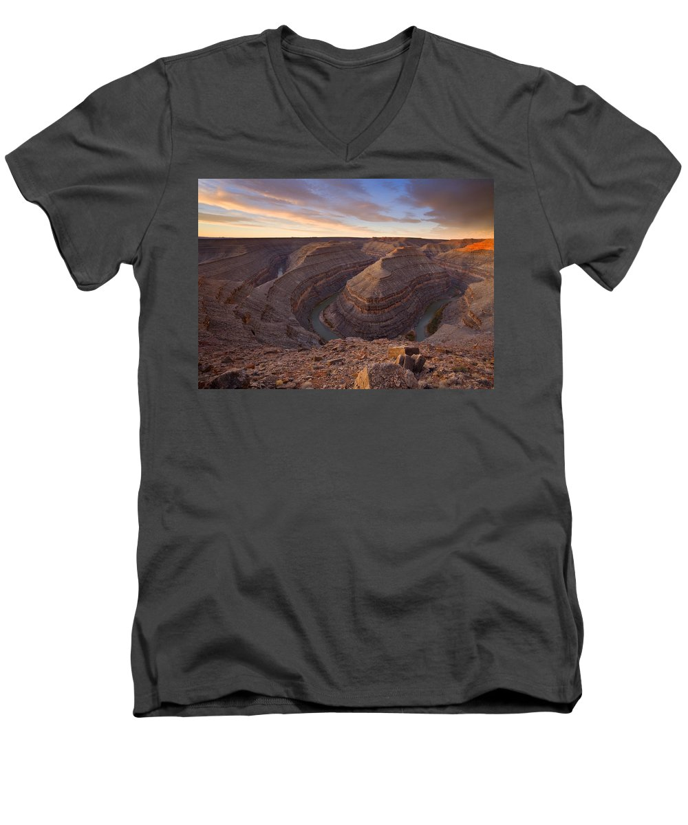 Goosenecks State Park Men's V-Neck T-Shirt featuring the photograph Doubleback by Mike Dawson