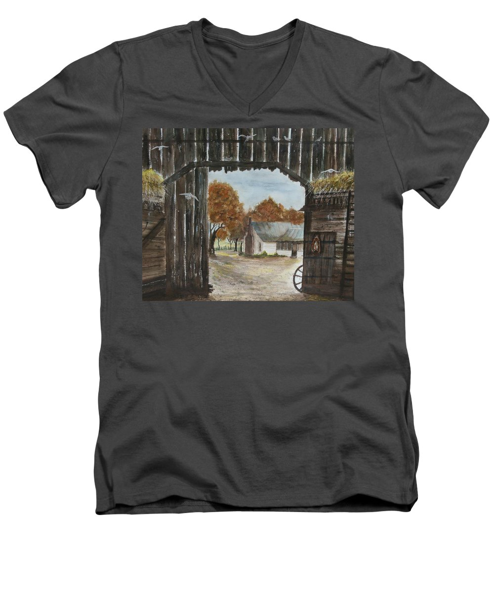 Grandpa And Grandma's Homeplace Men's V-Neck T-Shirt featuring the painting Down Home by Ben Kiger