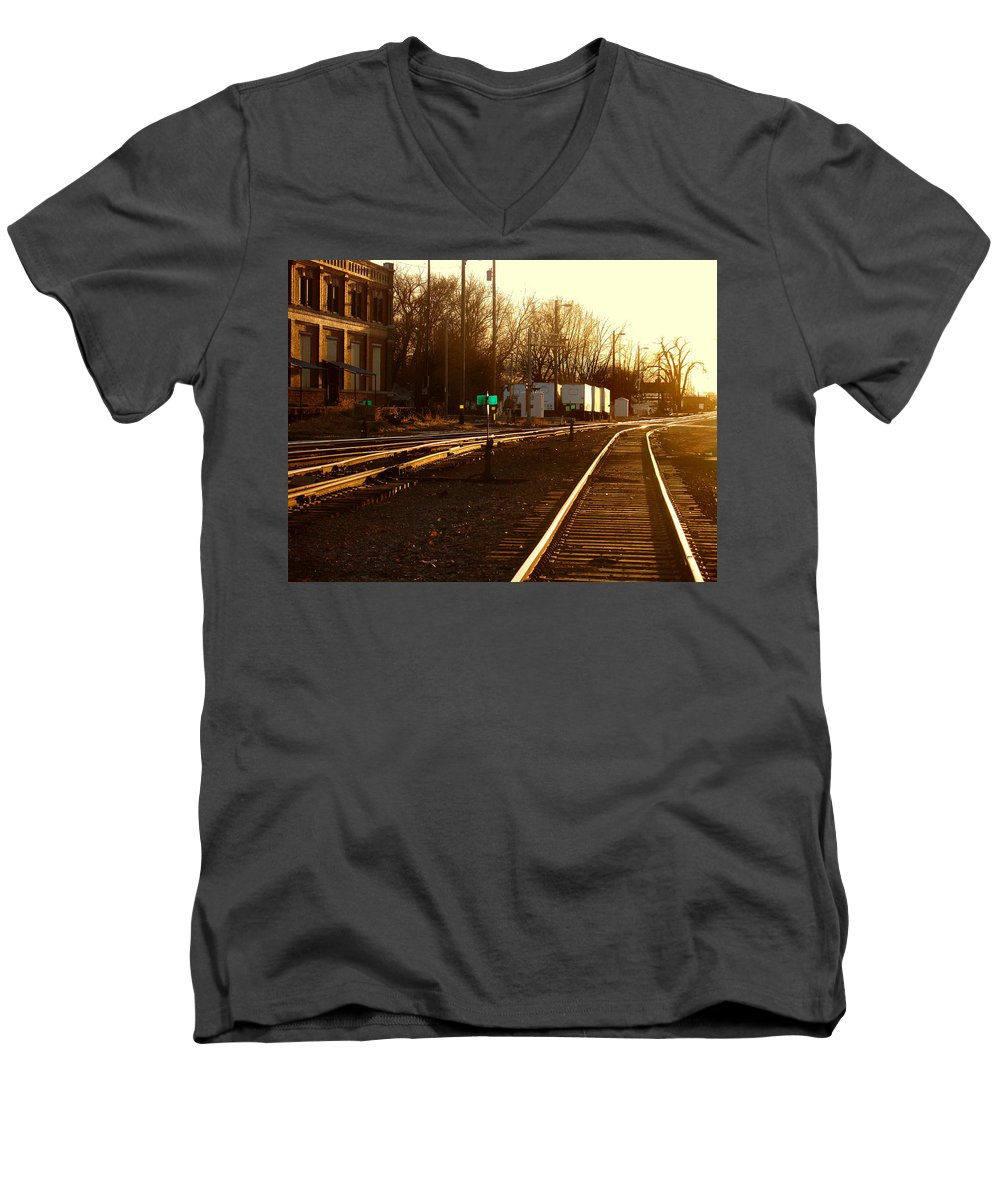Landscape Men's V-Neck T-Shirt featuring the photograph Down The Right Track by Steve Karol