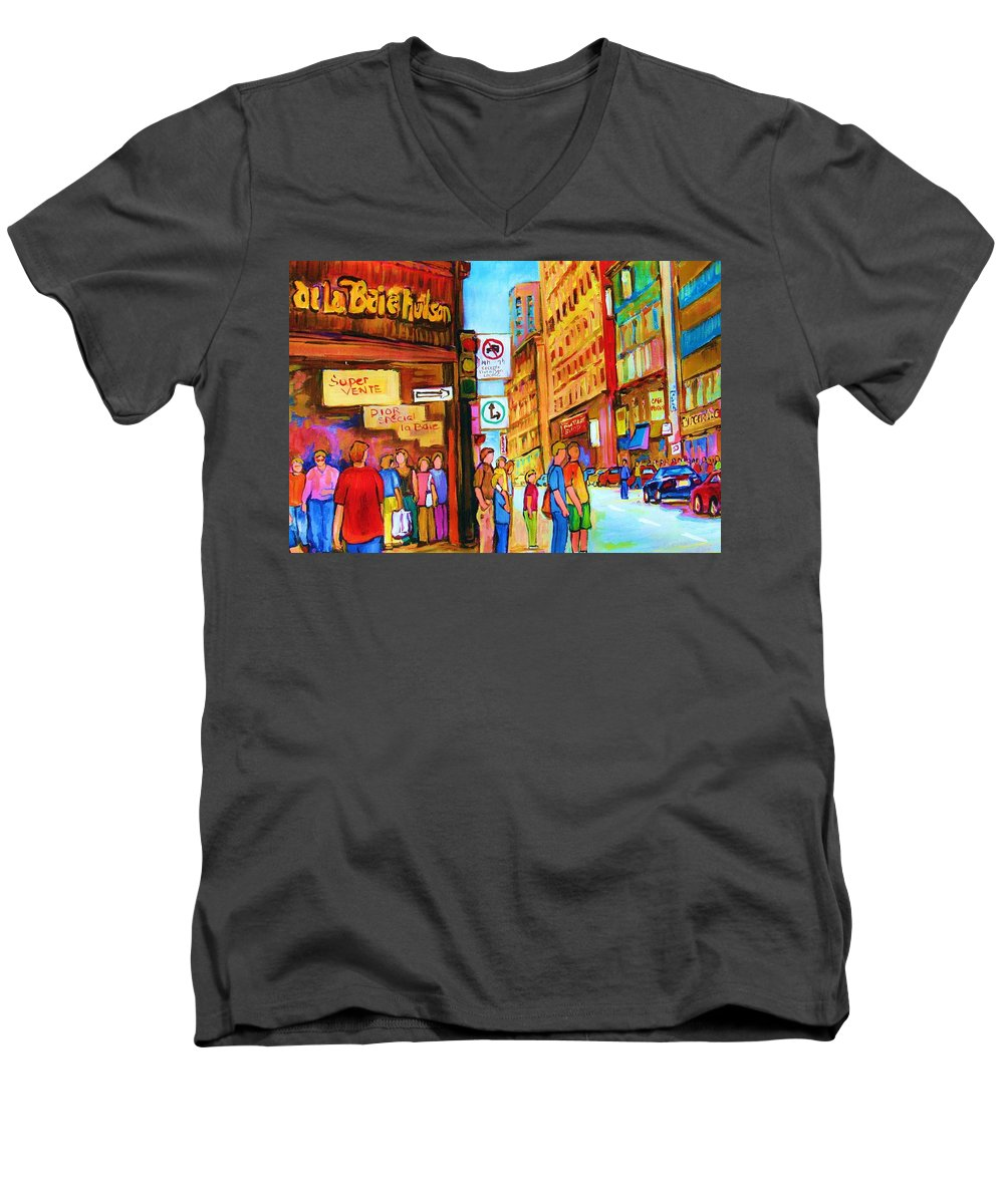 Cityscape Men's V-Neck T-Shirt featuring the painting Downtown by Carole Spandau